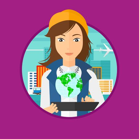 computer model: Woman holding a tablet computer with a model of planet earth above the device. International technology communication concept. Vector flat design illustration in the circle isolated on background.