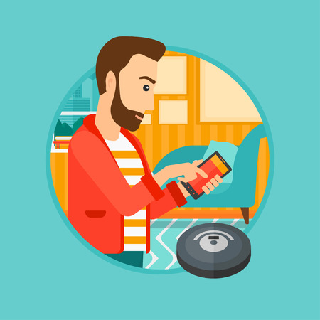 controlling: A hipster man controlling robot vacuum cleaner with his smartphone. Man holding remote control of robotic vacuum cleaner. Vector flat design illustration in the circle isolated on background. Illustration