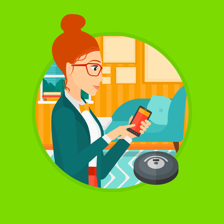 controlling: Young woman controlling robot vacuum cleaner with her smartphone. Woman holding remote control of robotic vacuum cleaner. Vector flat design illustration in the circle isolated on background.