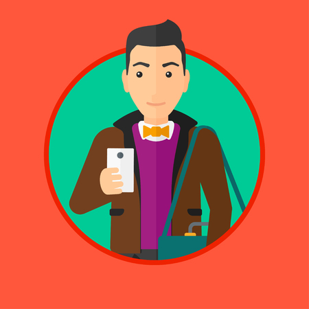 Young happy man using a smartphone. Professional businessman with suitcase working with smartphone. Man messaging on smartphone. Vector flat design illustration in the circle isolated on background.