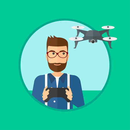 operating: A hipster man with the beard flying drone with remote control. Man operating a drone with remote control. Man controling a drone. Vector flat design illustration in the circle isolated on background.