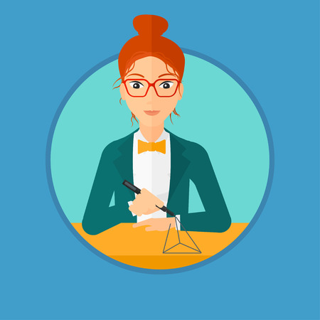 3 dimensional: Young woman making a model with a 3D pen. Woman drawing geometric shape by 3d pen. Engineer working with a 3 dimensional pen. Vector flat design illustration in the circle isolated on background. Illustration