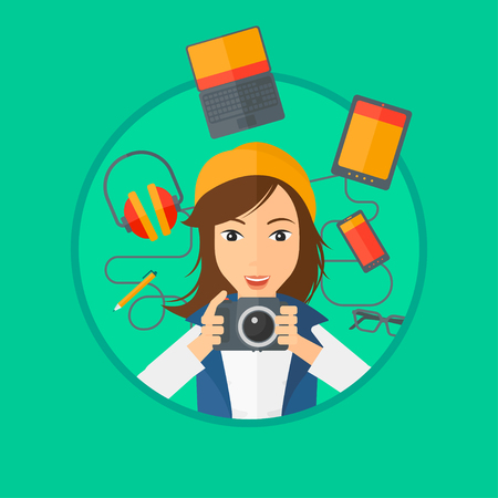 digital camera: Woman taking photo with digital camera. Young woman surrounded with her electronic gadgets. Woman using many electronic gadgets. Vector flat design illustration in the circle isolated on background.