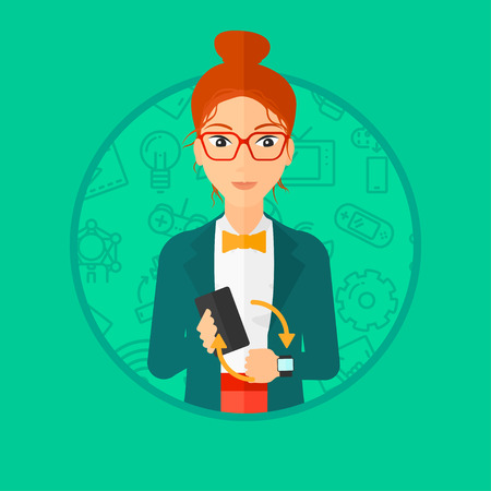 smart woman: Young woman holding a smartphone and wearing on wrist her smart watch. Synchronization between smart watch and smart phone. Vector flat design illustration in the circle isolated on background. Illustration