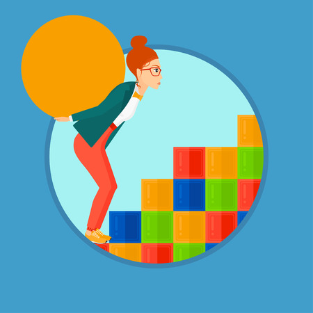 uphill: Tired woman rising up on the colored cubes and carrying a big stone on her back. Young woman with huge concrete ball going up. Vector flat design illustration in the circle isolated on background.