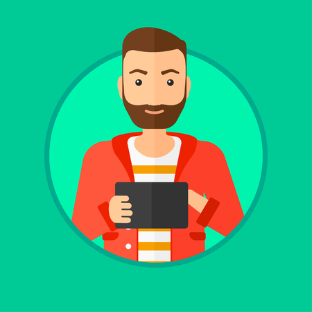 wireless communication: Hipster man with the beard using a tablet computer. Businessman working with a digital tablet. Businessman holding digital tablet. Vector flat design illustration in the circle isolated on background.