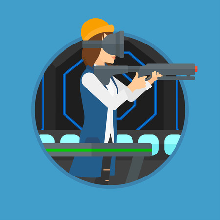 headset woman: Young woman wearing virtual reality headset. Woman playing video game while standing on a treadmill with a gun in hands. Vector flat design illustration in the circle isolated on background. Illustration