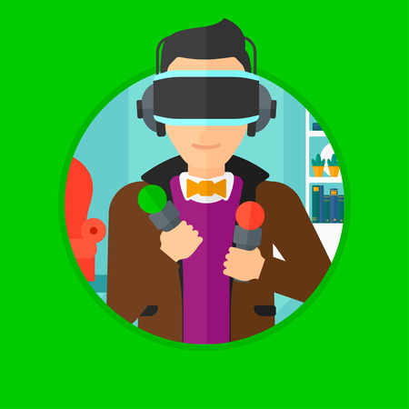 move controller: Young man wearing a virtual relaity headset and holding motion controllers in hands. Man playing video games in apartment. Vector flat design illustration in the circle isolated on background.