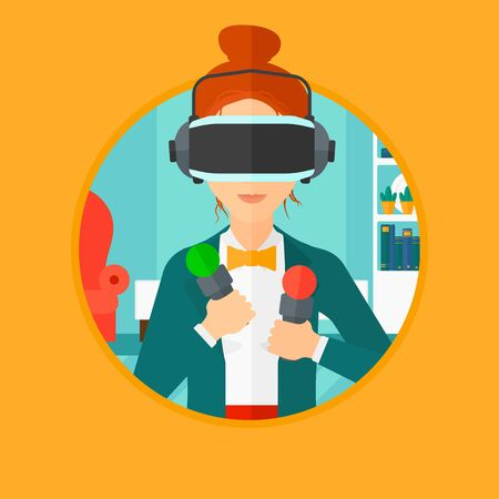 move controller: Young woman wearing a virtual relaity headset and holding motion controllers in hands. Woman playing video games in apartment. Vector flat design illustration in the circle isolated on background. Illustration