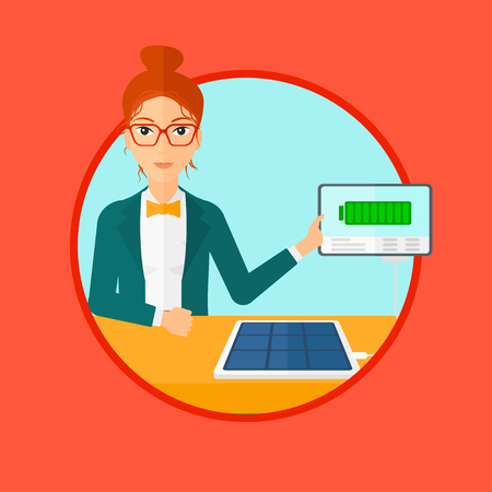flat panel: Young woman charging tablet computer with solar panel. Charging tablet from portable solar panel. Tablet with a battery charging. Vector flat design illustration in the circle isolated on background. Illustration