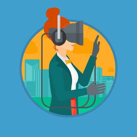 playing video games: Young woman wearing a virtual relaity headset. Woman playing video games on a city background. Woman wearing gamer gloves. Vector flat design illustration in the circle isolated on background.