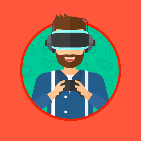 playing video game: A hipster man with the beard wearing a virtual relaity headset. Young man playing video game with game controller in hands. Vector flat design illustration in the circle isolated on background.