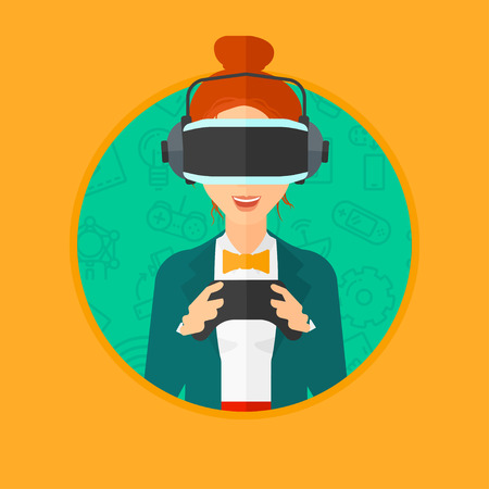 playing video games: Young woman wearing a virtual relaity headset. Smiling woman playing video games with a wireless game controller in hands. Vector flat design illustration in the circle isolated on background. Illustration