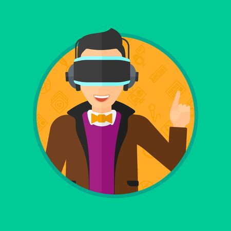 man pointing up: Young man wearing a virtual relaity headset. Man in a virtual relaity headset pointing a forefinger up while playing video game. Vector flat design illustration in the circle isolated on background.