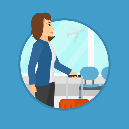 airport cartoon: Young woman at the airport with a suitcase. Woman standing at the airport and looking through the window at the flying airplane. Vector flat design illustration in the circle isolated on background.