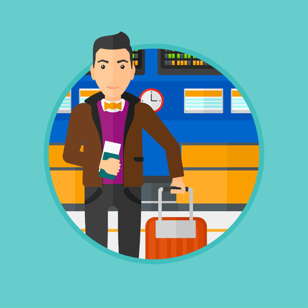 Man with suitcase holding a passport with ticket at the airport. Man standing at the airport in front of the departure board. Vector flat design illustration in the circle isolated on background.