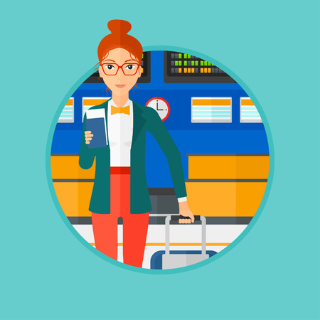 departure board: Woman with suitcase holding a passport with ticket at the airport. Woman standing at the airport in front of departure board. Vector flat design illustration in the circle isolated on background.
