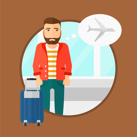 man flying: Hipster man with the beard frightened by future flight. Young man suffering from fear of flying. Phobia, fear of flying concept. Vector flat design illustration in the circle isolated on background.