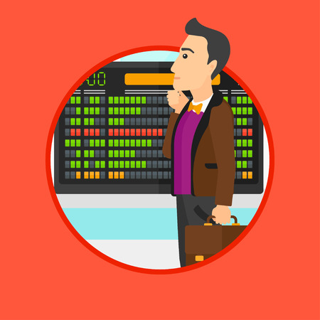 departure board: Man with a briefcase looking at departure board at the airport. Passenger standing at the airport in front of the departure board. Vector flat design illustration in the circle isolated on background. Illustration
