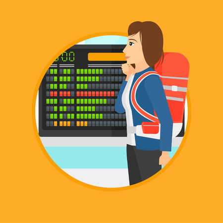cartoon board: Woman with briefcase looking at departure board at the airport. Passenger standing at the airport in front of the departure board. Vector flat design illustration in the circle isolated on background. Illustration