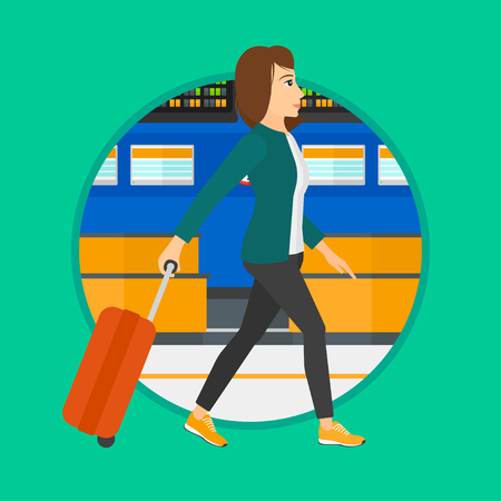 departure board: Young woman walking at the airport. Passenger with a suitcase walking on the background of schedule board at the airport. Vector flat design illustration in the circle isolated on background. Illustration