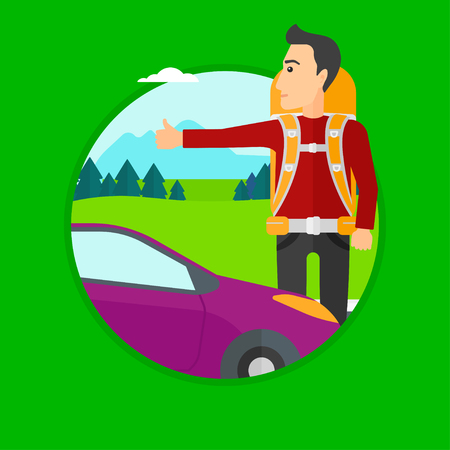 roadside: Young man with backpack hitchhiking on roadside. Hitchhiking man trying to stop a car on the road. Vector flat design illustration in the circle isolated on background.