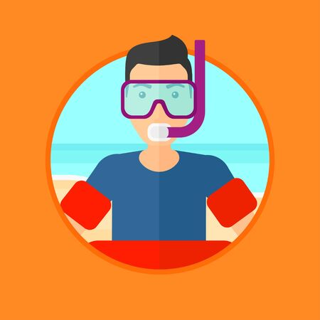 rubber tube: Man in mask, tube and rubber ring standing on the background of beach and sea. Man wearing snorkeling equipment on the beach. Vector flat design illustration in the circle isolated on background.