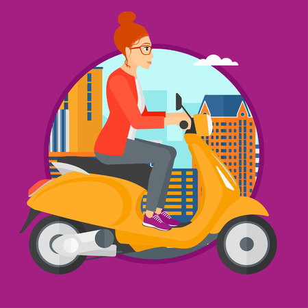 woman driving: Woman riding a scooter on a city background. Young woman driving a scooter in the street. Vector flat design illustration in the circle isolated on background.