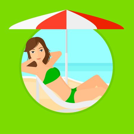 Woman sitting in a chaise longue on the beach. Woman sitting under umbrella on the beach. Woman relaxing on beach chair. Vector flat design illustration in the circle isolated on background.