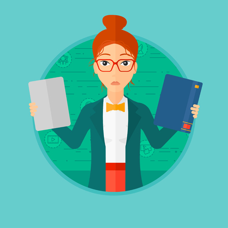 woman tablet: Confused woman choosing between tablet computer and paper book. Woman holding book in one hand and tablet computer in the other. Vector flat design illustration in the circle isolated on background.