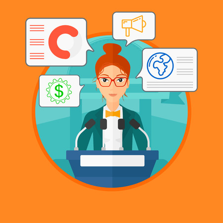 business conference: Speaker standing on a podium with microphones at business conference. Woman giving speech at podium and speech squares around her. Vector flat design illustration in the circle isolated on background.