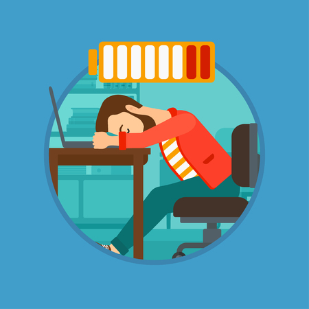 Hipster man sleeping at workplace on laptop keyboard and low power battery sign over his head. Man sleeping in the office. Vector flat design illustration in the circle isolated on background. Ilustração
