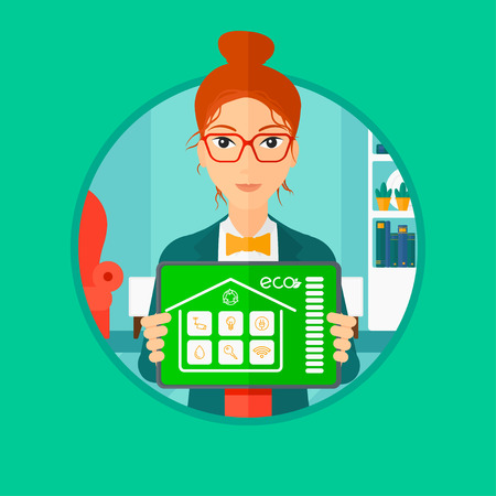 woman tablet: Woman holding a tablet computer with remote home control system on a screen. Woman showing tablet with smart home app on a screen. Vector flat design illustration in the circle isolated on background. Illustration