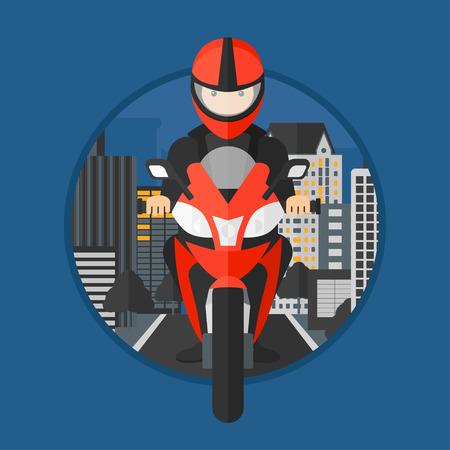 man machine: Young man in helmet riding a motorcycle on the background of night city. Man driving a motorbike on a city road. Vector flat design illustration in the circle isolated on background. Illustration