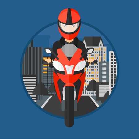 woman driving: Young woman in helmet riding a motorcycle on the background of night city. Woman driving a motorbike on a city road. Vector flat design illustration in the circle isolated on background. Illustration
