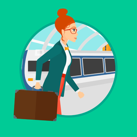 going out: Young woman walking on the train platform on the background of arriving at the station. Woman going out of train. Vector flat design illustration in the circle isolated on background.