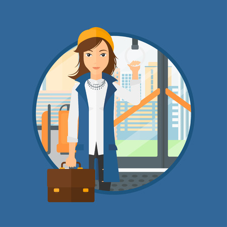 handgrip: Woman traveling by public transport. Young woman standing inside public transport. Woman traveling by passenger bus or subway. Vector flat design illustration in the circle isolated on background. Illustration