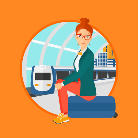 arriving: Woman sitting on a suitcase at the train station on the background of arriving train. Woman waiting for a train at the platform. Vector flat design illustration in the circle isolated on background.