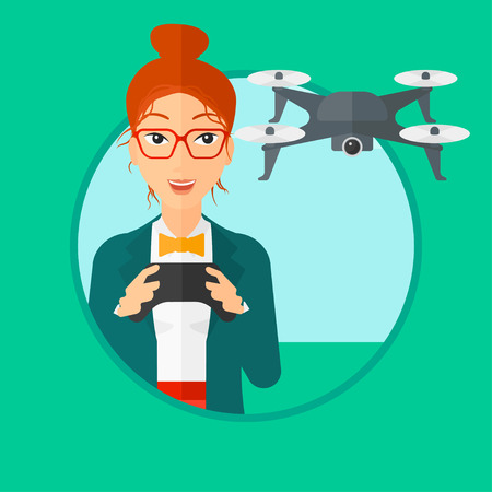 vector control illustration: Young woman flying drone with remote control. Happy woman operating a drone with remote control. Woman controling a drone. Vector flat design illustration in the circle isolated on background.