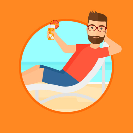 longue: A hipster man with the beard sitting in a chaise longue on the beach. Young man relaxing and drinking a cocktail on a sand beach. Vector flat design illustration in the circle isolated on background.