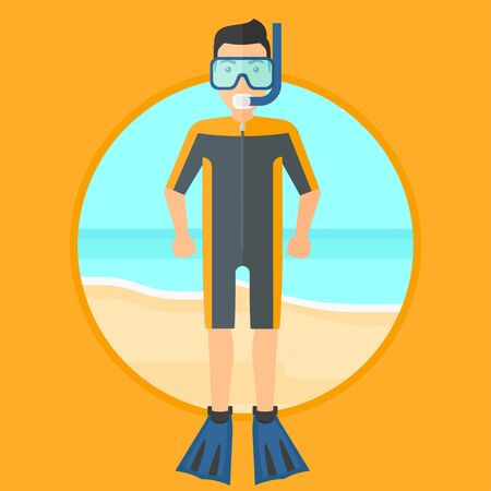 flippers: Man in diving suit, flippers, mask and tube standing on the beach. Male scuba diver on the beach. Young man enjoying snorkeling. Vector flat design illustration in the circle isolated on background. Illustration