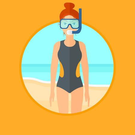 flippers: Woman in diving suit, flippers, mask and tube standing on the beach. Female scuba diver on the beach. Woman enjoying snorkeling. Vector flat design illustration in the circle isolated on background.