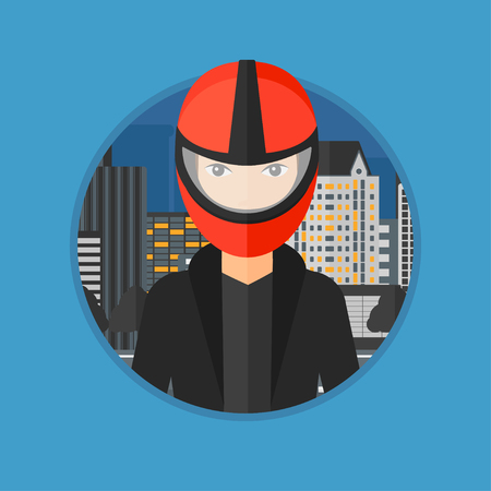 Young biker standing on the background of night city. Woman in biker helmet and leather jacket. Vector flat design illustration in the circle isolated on background. Vector Illustration