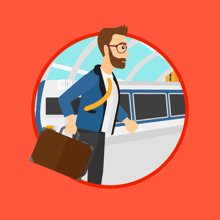 A hipster man walking on the train platform on the background of train arriving at the station. Man going out of train. Vector flat design illustration in the circle isolated on background.