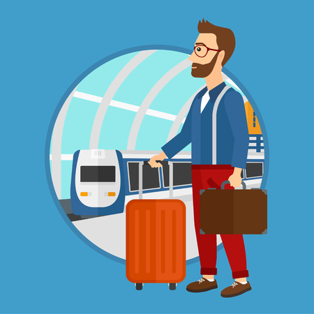 travel suitcase: A hipster man standing at the train station on the background of arriving train. Young man with suitcases waiting for a train. Vector flat design illustration in the circle isolated on background.