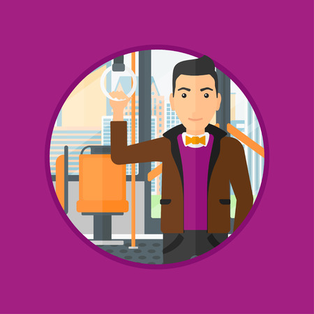 handgrip: Man traveling by public transport. Young man standing inside public transport. Man traveling by passenger bus or subway. Vector flat design illustration in the circle isolated on background. Illustration
