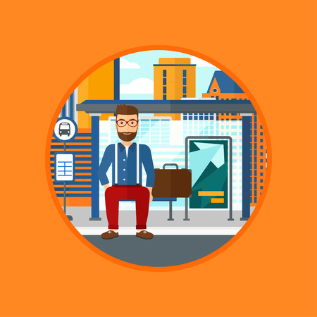 bus stop: A hipster man with the beard waiting for a bus at a bus stop on a city background. Young man sitting at the bus stop. Vector flat design illustration in the circle isolated on background. Illustration