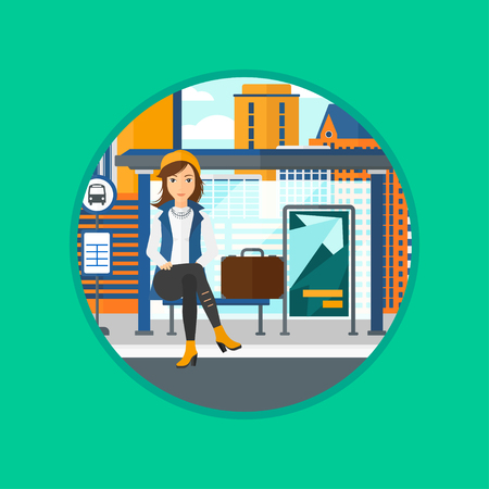young woman sitting: Woman with briefcase waiting for a bus at a bus stop on a city background. Young woman sitting at the bus stop at the city street. Vector flat design illustration in the circle isolated on background. Illustration