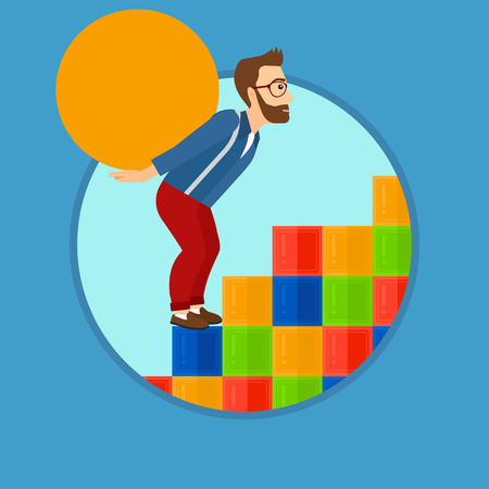 difficult task: Tired hipster man with the beard rising up on the colored cubes and carrying a big stone on his back. Man with huge concrete ball. Vector flat design illustration in the circle isolated on background. Illustration