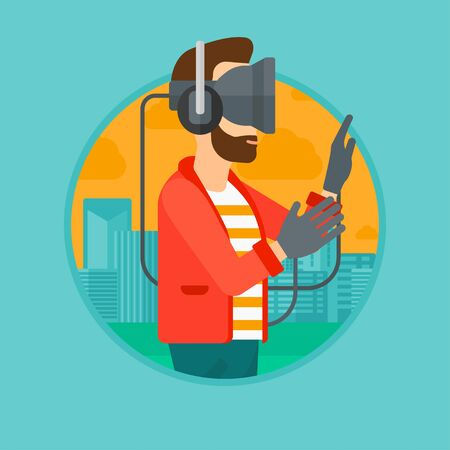 A hipster man wearing a virtual relaity headset. Man playing video games on a city background. Man wearing gamer gloves. Vector flat design illustration in the circle isolated on background. Ilustrace
